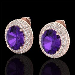 Natural 8 CTW Amethyst & Micro Pave Diamond Certified Earrings 14K Rose Gold - 20211-REF#-98Z9R