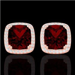Natural 6 CTW Garnet & Micro Pave Diamond Halo Solitaire Earrings 14K Rose Gold - 22804-REF#-56Z3R