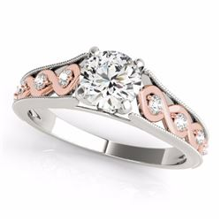 0.55 CTW Certified SI-I Diamond Solitaire Bridal  Ring 18K Two Tone Gold - 27543-#68T7Z