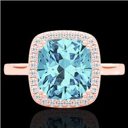 Natural 3.50 CTW Sky Blue Topaz & Micro Diamond Halo Solitaire Ring 14K Rose Gold - 22853-REF#-35R8H