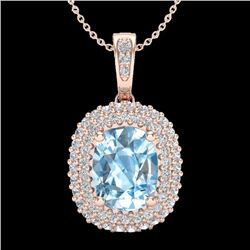 Natural 3 CTW Blue Topaz & Micro Pave Diamond Certified Halo Necklace 10K Rose Gold - 20404-REF#-41Y