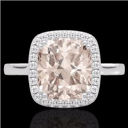 Natural 3 CTW Morganite & Micro Pave Diamond Halo Solitaire Ring 18K White Gold - 22846-REF#-78N3A