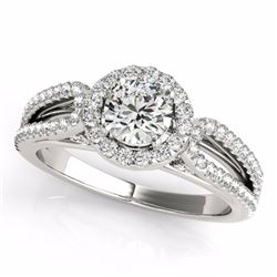 0.75 CTW Certified SI-I Diamond Bridal Solitaire Halo Ring 18K White - 26419-#76K9R