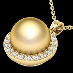 Natural .25 CTW Micro Pave Halo Diamond Certified & Golden Pearl Necklace 18K Yellow Gold - 21564-RE