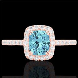 Natural 1.25 CTW Sky Blue Topaz & Micro Pave Diamond Certified Halo Ring 10K Rose Gold - 22913-REF#-