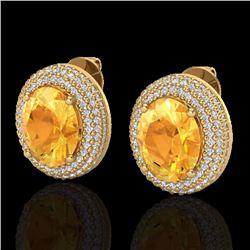Natural 8 CTW Citrine & Micro Pave Diamond Certified Earrings 18K Yellow Gold - 20222-REF#-106Y8Z