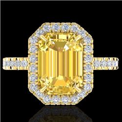 Natural 4.50 CTW Citrine & Micro Pave Diamond Certified Halo Ring 18K Yellow Gold - 21424-REF#-56R5H