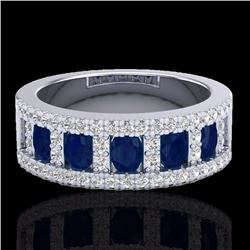Natural 2.34 CTW Sapphire & Micro Pave Diamond Inspired Ring 10K White Gold - 20828-REF#-49V2Y