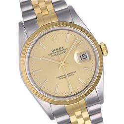Pre-owned Excellent Condition Authentic Rolex Quickset Men's 18K/Stainless Steel DateJust Champagne