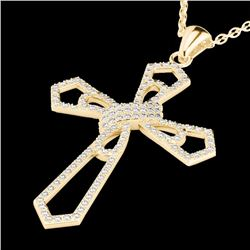 Natural 1 CTW Micro Pave Diamond Certified CROSS Necklace 18K Yellow Gold - 22579-REF#-90T2K