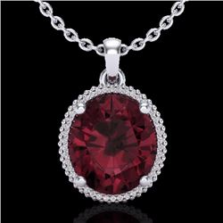 Natural 11 CTW Garnet & Micro Pave Diamond Certified Halo Necklace 18K White Gold - 20612-REF#-75N7A