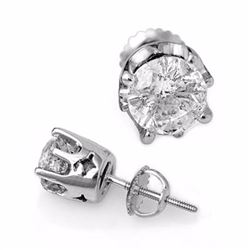 Genuine 2.0 ctw Diamond Solitaire Stud Earrings 18K White Gold - 11163-#448A5N