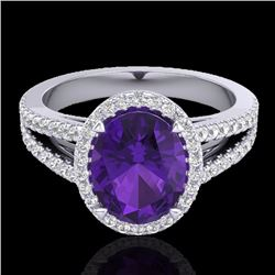Natural 3 CTW Amethyst & Micro Diamond Halo Solitaire Bridal Ring 18K White Gold - 20927-REF#-55X8T
