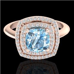 Natural 1.50 CTW Sky Blue Topaz & Micro Diamond Certified Halo Ring 14K Rose Gold - 20753-REF#-56A2X