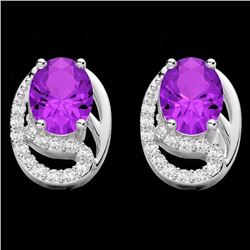 Natural 2.50 AMEHYST & Micro Pave Diamond Certified Solitaire Stud Earrings 10K White Gold - 22323-R