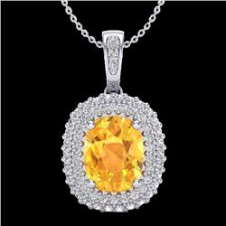 Natural 3 CTW Citrine & Micro Pave Diamond Certified Halo Necklace 14K White Gold - 20411-REF#-51H8M