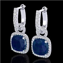 Natural 6 CTW Sapphire & Micro Pave Diamond Certified Earrings 18K White Gold - 22970-REF#-83N5A