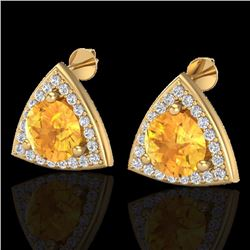 Natural 3 CTW Citrine & Micro Pave Halo Solitaire Diamond Stud Earrings 18K Yellow Gold - 20186-REF#