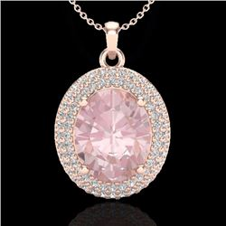 Natural 4.50 CTW Morganite & Micro Pave Diamond Certified Necklace 14K Rose Gold - 20567-REF#-110W7G