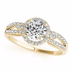 0.75 CTW Certified SI-I Diamond Bridal Solitaire Halo Ring 18K Yellow - 26804-#95X5Y