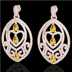 Natural 7 CTW Yellow Sapphire & Micro Pave Diamond Heart Earrings Designer IN 14K Rose Gold - 21165-