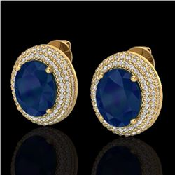 Natural 9.20 CTW Sapphire & Micro Pave Diamond Certified Earrings 18K Yellow Gold - 20235-REF#-129W5