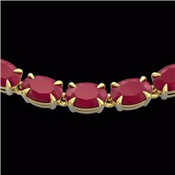 Natural 40 CTW Ruby Eternity Tennis Necklace 14K Yellow Gold - 23380-REF#-169M7F