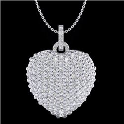 Natural 3 CTW Micro Pave Diamond Certified Designer Heart Necklace 18K White Gold - 20466-REF#-137W5