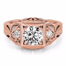 0.60 CTW Certified SI-I Diamond Solitaire Bridal Antique Ring 18K Rose - 27238-#95R7K