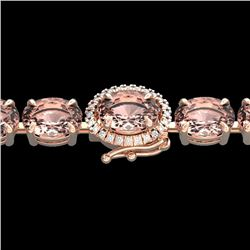 Natural 26 CTW Morganite & Diamond Eternity Tennis Micro Halo Bracelet 14K Rose Gold - 23432-REF#-26