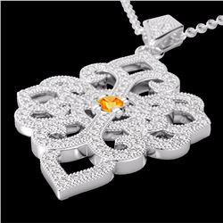 Natural 1.40 CTW Citrine & Micro Pave Diamond Designer Necklace 14K White Gold - 22552-REF#-95H2M