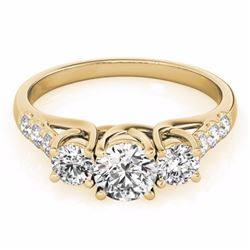 0.75 CTW Certified SI-I Diamond 3 stone Bridal  Ring 18K Yellow Gold - 28079-#77M2G