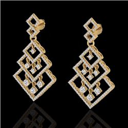 Natural 3 CTW Micro Pave Diamond Certified Earrings Dangling Designer 14K Yellow Gold - 22490-REF#-1