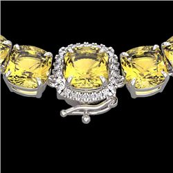 Natural 87 CTW Citrine & Diamond Halo Micro Pave Necklace 14K White Gold - 23339-REF#-262W5G