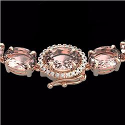 Natural 64 CTW Morganite & Diamond Eternity Tennis Micro Halo Necklace 14K Rose Gold - 23469-REF#-61
