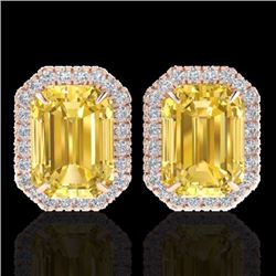 Natural 8.40 CTW Citrine & Micro Pave Diamond Certified Halo Earrings 14K Rose Gold - 21221-REF#-59A