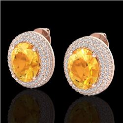 Natural 8 CTW Citrine & Micro Pave Diamond Certified Earrings 14K Rose Gold - 20220-REF#-99Z8R