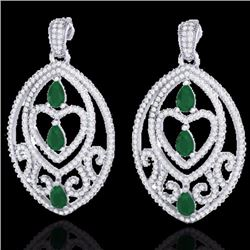Natural 7 CTW Emerald & Micro Pave Diamond Heart Earrings Designer IN 18K White Gold - 21153-REF#-24