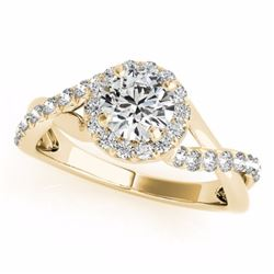 0.75 CTW Certified SI-I Diamond Bridal Solitaire Halo Ring 18K Yellow - 26663-#85W9H