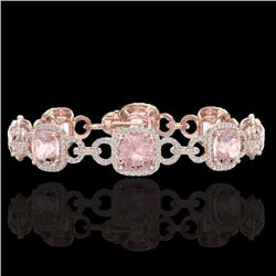 Natural 22 CTW Morganite & Micro Diamond Certified Bracelet 14K Rose Gold - 23027-REF#-432F8V