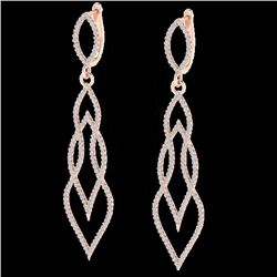 Natural 1.90 CTW Micro Pave Diamond Certified Earrings 14K Rose Gold - 20093-REF#-115F3V