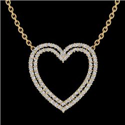 Natural 2 CTW Diamond Certified Double Heart Halo Designer Necklace 14K Yellow Gold - 20482-REF#-92W