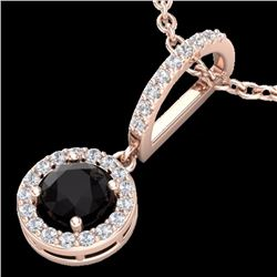 Natural 1 CTW Micro Pave Halo Black & White Solitaire Diamond SINecklace 14K Rose Gold - 23269-REF#-