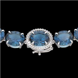 Natural 127 CTW London Blue Topaz & Diamond Halo Micro Necklace 14K White Gold - 22303-REF#-331N9A