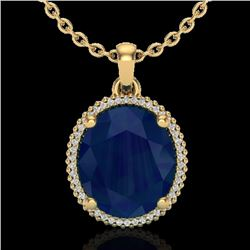 Natural 12 CTW Sapphire & Micro Pave Diamond Certified Halo Necklace 18K Yellow Gold - 20617-REF#-96