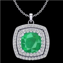Natural 1.50 CTW Emerald & Micro Pave Diamond Certified Halo Necklace 18K White Gold - 20454-REF#-57