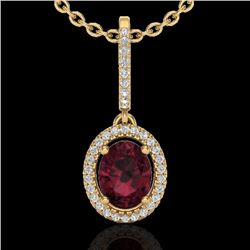 Natural 2 CTW Garnet & Micro Pave Diamond Necklace Solitaire Halo 18K Yellow Gold - 20662-REF#-47V3Y