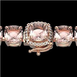Natural 35 CTW Morganite & Micro Pave Diamond Halo Bracelet 14K Rose Gold - 23316-REF#-364V7Y