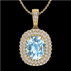 Natural 3 CTW Blue Topaz & Micro Pave Diamond Certified Halo Necklace 10K Yellow Gold - 20406-REF#-4