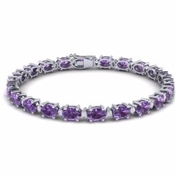 19.70 CTW AMETHYST & DIAMOND SI-I CERTIFIED ETERNITY TENNIS BRACELET - 29357-#78W7A